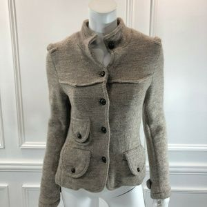 Free People M Peplum Knit Jacket Brown Wool D6
